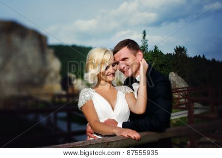 Bride and Groom On Mountains, sunshine day