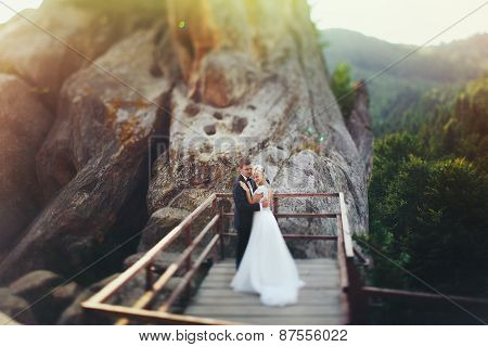 bride and groom on mountain, couple in love