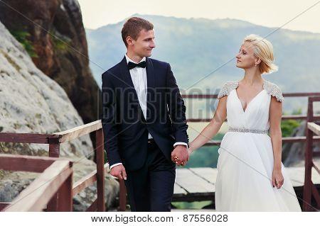 Wedding Couple On The Background Of Bridge