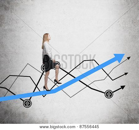 Young Woman Is Going Up To The Line Graph