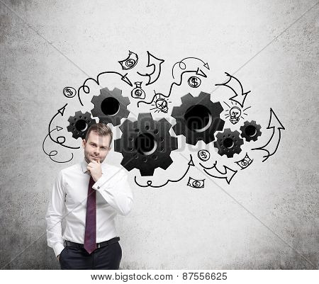 Young Businessman Is Thinking About Optimisation Of The Business Process.