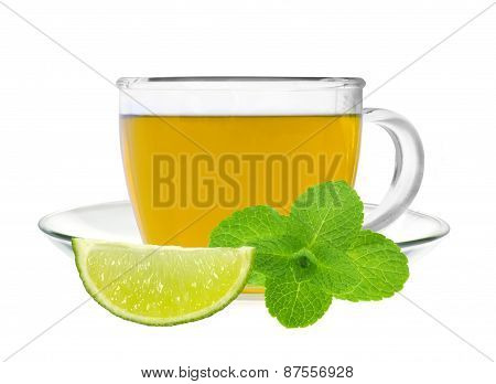 Glass Cup Of Green Tea With Fresh Mint And Lime Slice Isolated On White Background