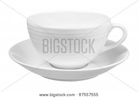 Clear White Cup On Plate Isolated On White Background