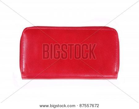Beautiful Red Makeup Bag Isolated On White