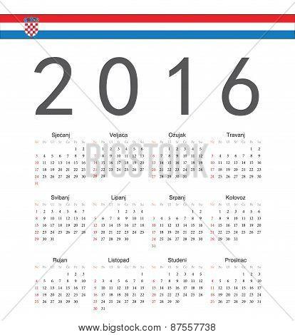 Square Croatian 2016 Year Vector Calendar