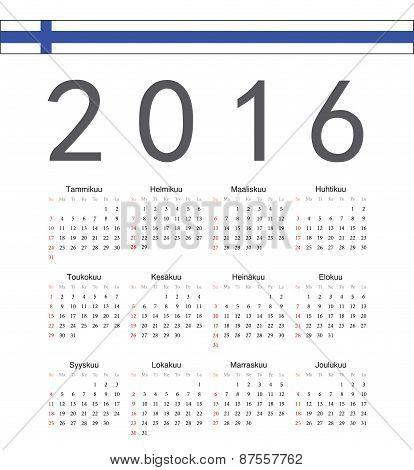 Square Finnish 2016 Year Vector Calendar