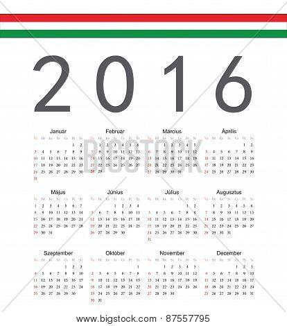 Square Hungarian 2016 Year Vector Calendar
