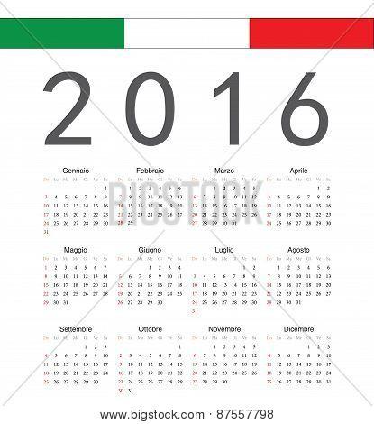Square Italian 2016 Year Vector Calendar