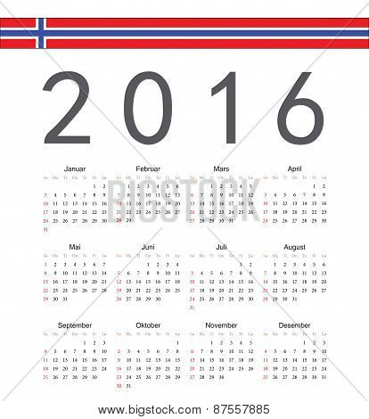 Square Norwegian 2016 Year Vector Calendar