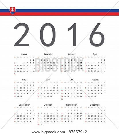 Square Slovak 2016 Year Vector Calendar