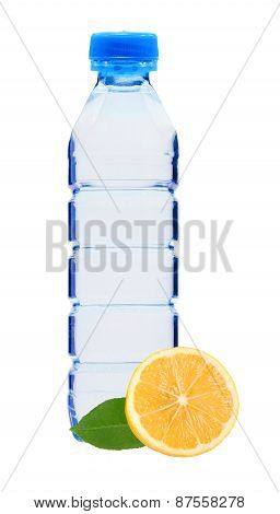 Blue Bottle With Water And Lemon Isolated On White