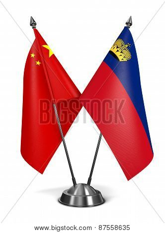 China and Liechtenstein - Miniature Flags.