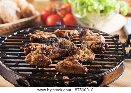 Grilling Chicken Wings On Barbecue Grill