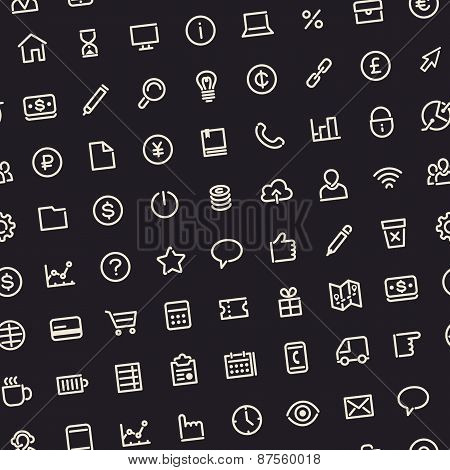 Dark Seamless Business Background with Line Icons