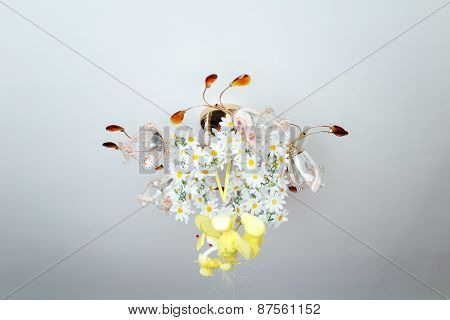 Chandelier With Flowers On The Ceiling