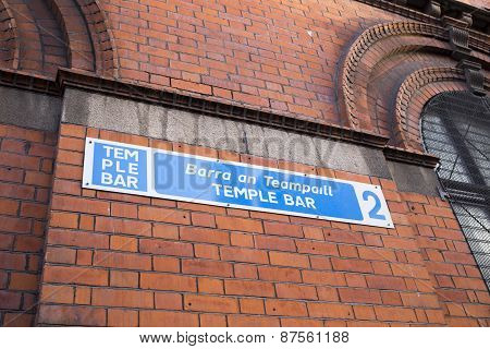 Street Sign For Temple Bar, Dublin