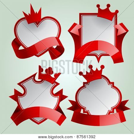 Badge set with red ribbon and paper crown. Retro design elements. Vector Illustration