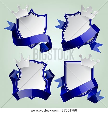 Badge set with blue ribbon and paper crown. Retro design elements. Vector Illustration