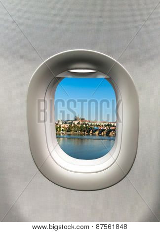 Looking Out The Window Of A Plane To The Prague