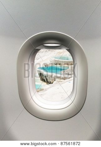 Looking Out The Window Of A Plane To The Pamukkale In Turkey