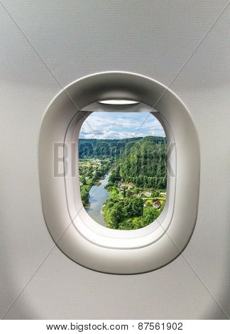 Looking Out The Window Of A Plane At The Village Sazava