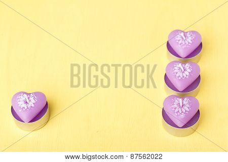 Pink Candles In The Shape Of Heart