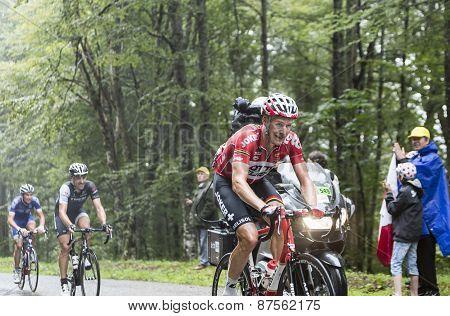The Cyclist Lars Bak  Climbing Col Du Platzerwasel - Tour De France 2014