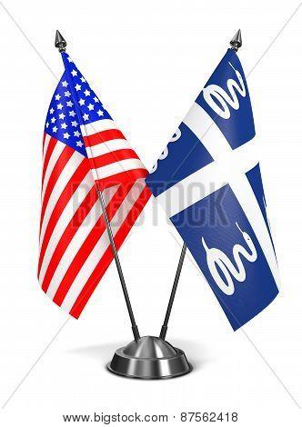 USA and Martinique - Miniature Flags.