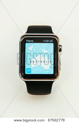 Apple Watch With Australia Map on Display
