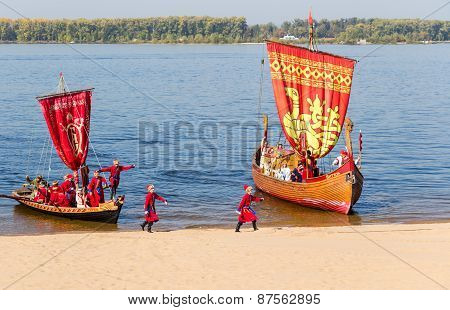 Old Sailing Ships Floating On The River Volga On Sunny Day In Samara, Russia