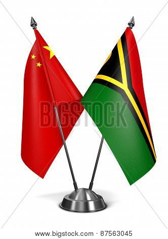 China and Vanuatu - Miniature Flags.