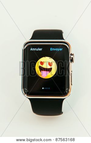 Apple Watch with emoji face