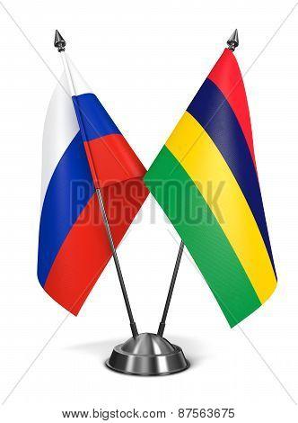 Russia and Mauritius - Miniature Flags.