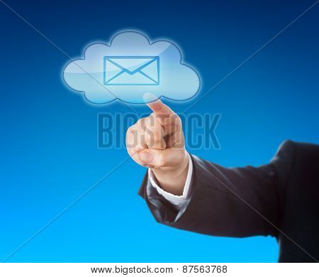 Corporate Person Touching Email In Cloud Symbol