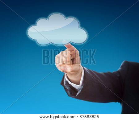 Forearm Pointing At Cloud Icon With Copy Space