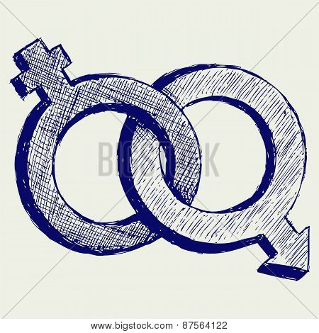Illustration of male and female sex symbol