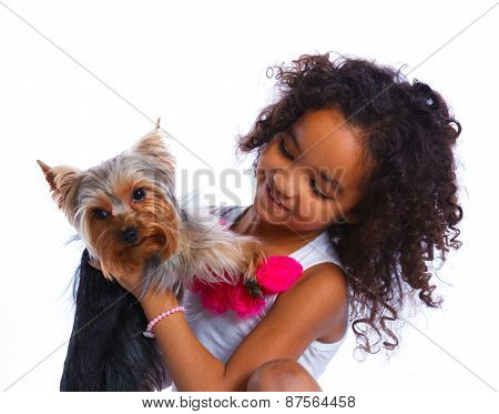 Girl with his Yorkshire terrier