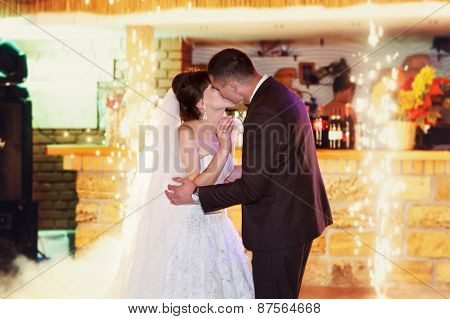 First dance bride and groom in a restaurant. Party time