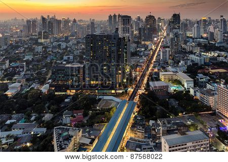 Twilight on Bangkok city, view from the Thog Lor district
