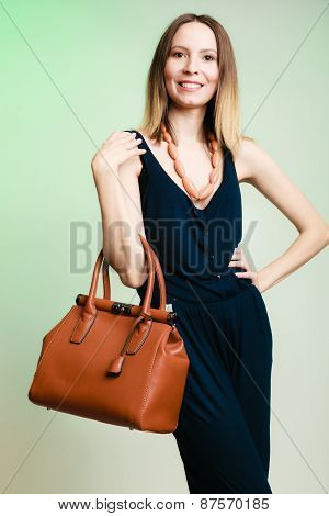 Stylish Woman Fashion Girl Holding Brown Handbag