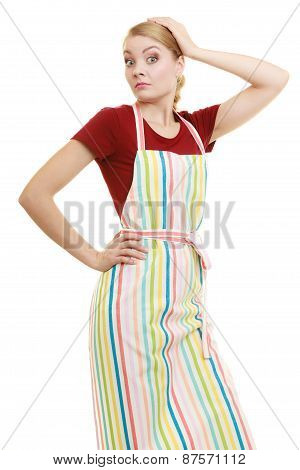 Funny Housewife In Kitchen Apron