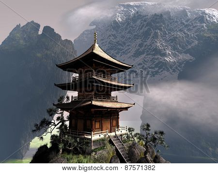 buddhist temple in Chinese mountains