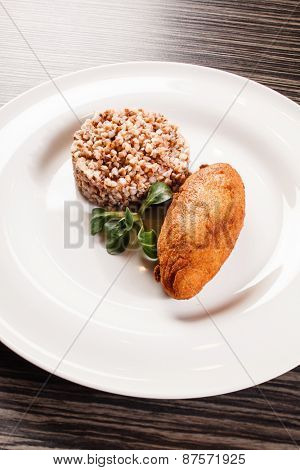 buckwheat with cutlet