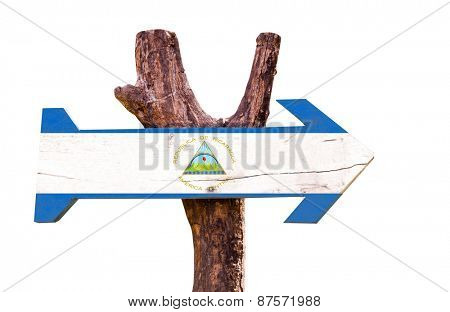 Nicaragua Flag wooden sign isolated on white background