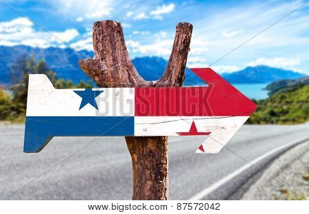 Panama Flag wooden sign with road background