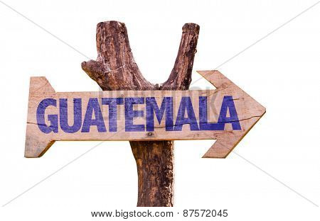Guatemala wooden sign isolated on white background