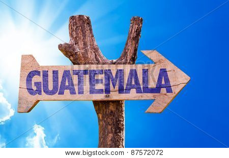 Guatemala wooden sign with sky background