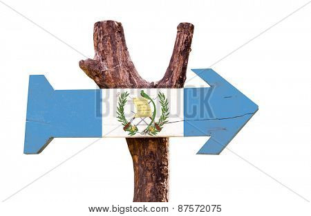 Guatemala Flag wooden sign isolated on white background
