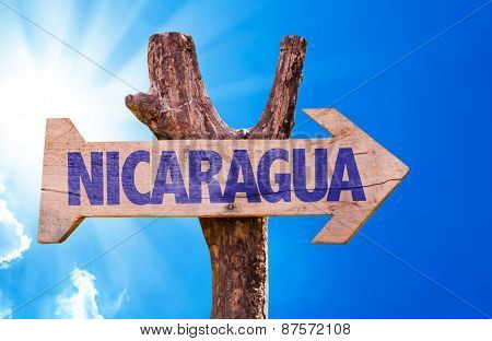Nicaragua wooden sign with sky background