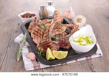 grilled lamb meat, bbq